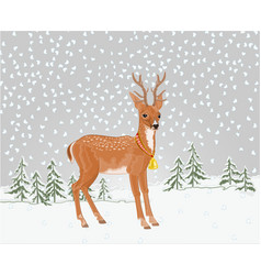 young deer in winter landscape with falling snow vector image