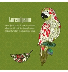 Zentangle stylized cartoon parrot vector