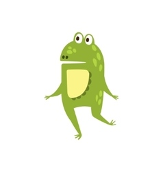 Frog Running On Two Legs Flat Cartoon Green vector image