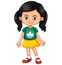 Girl wearing shirt with macau flag vector