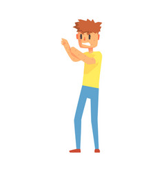 guy scratching arms covered in pimples adult vector image