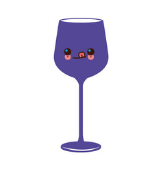 kawaii wine glass cup image vector image