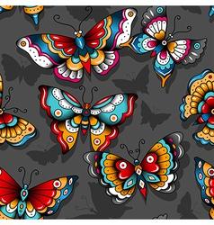 pattern tattoo butterflies vector image