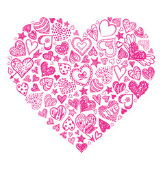 red hand drawn heart vector image vector image