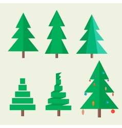 Set Christmas tree in style flat vector image