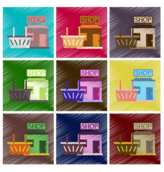 set of flat icons in shading style shop basket vector image vector image