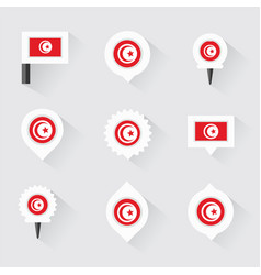 tunisia flag and pins for infographic and map vector image vector image