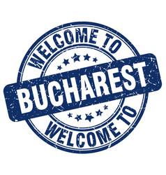Welcome to bucharest blue round vintage stamp vector
