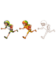 drafting character for american football player vector image vector image