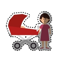 Happy family members with baby car vector