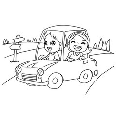 little boy and friend driving a toy car vector image