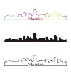 Milwaukee skyline linear style with rainbow vector image vector image