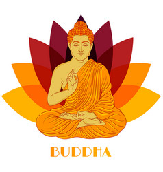 sitting buddha over lotus flower background vector image vector image