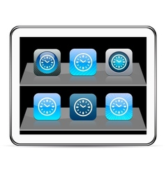 Time blue app icons vector image vector image