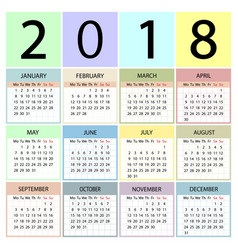 calendar 2018 year week starts with monday vector image