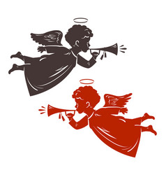 christmas angel plays the trumpet silhouette vector image