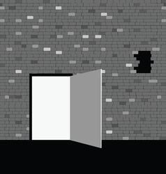 door on gray brick wall vector image