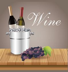 ice bucket bottle grape table wooden vector image vector image