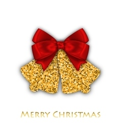 Jingle bells with red bow on a white background vector image