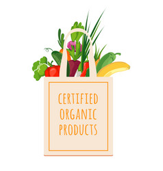 textile bag with organic products vector image vector image