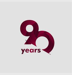90 year anniversary elegant number template design vector