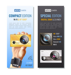action camera vertical banners set vector image