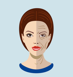 Aging process face with two types of skin vector
