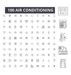 air conditioning editable line icons 100 vector image