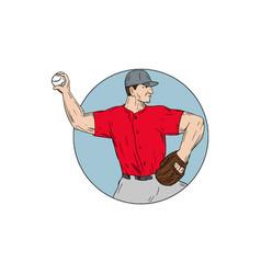 American baseball pitcher throwing ball circle vector