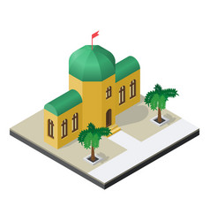 arabian building with palm trees in isometric view vector image