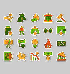 bankruptcy patch sticker icons set vector image