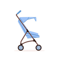 blue baby carriage safe handle transportation of vector image