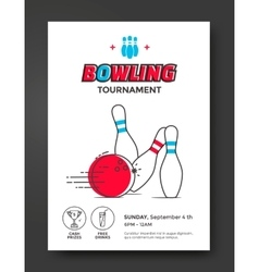 Bowling tournament poster vector image