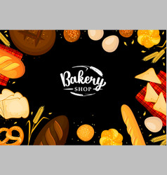 Bread products on black chalkboard poster frame vector