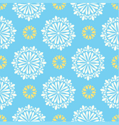 bright mandala pattern in blue white with vector image