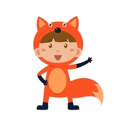 Child Wearing Costume of Fox vector image