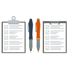 clipboard with checklist and pen flat color vector image