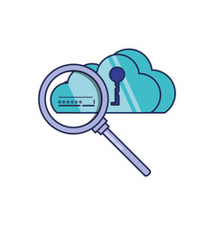 cloud computing with key and magnifying glass vector image