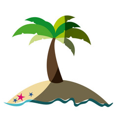 colorful silhouette of island with palm tree and vector image