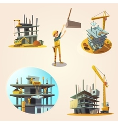 Construction cartoon set vector image