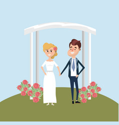 couple married with flowers decoration design vector image