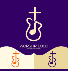 Cross of jesus musical note and guitar vector