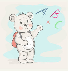 cute bear with a briefcase shows vector image