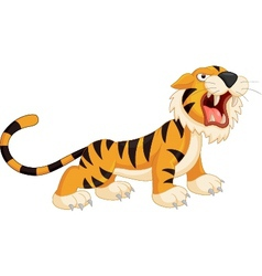 Cute cartoon tiger roaring vector image