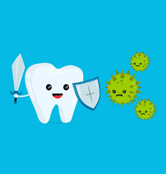 Cute happy funny smiling fighting tooth vector
