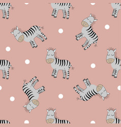 cute zebras seamless patern vector image