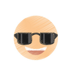 Drawing smile sunglasses emoticon image vector