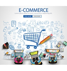 E-commerce Concept with Doodle design style on vector image
