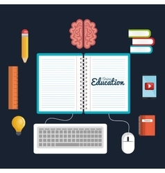 education online icons study reading digital vector image