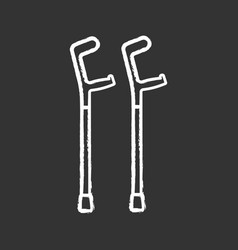 Elbow crutches chalk icon vector